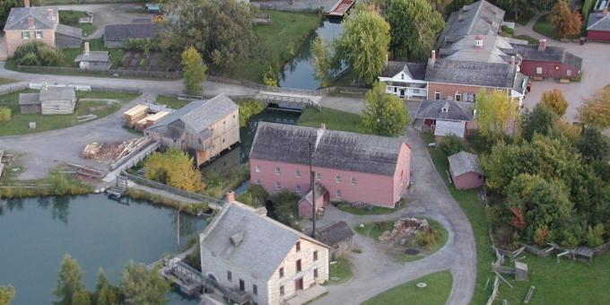 Aerial view of Upper Canada Village, Morrisburg, Ontario