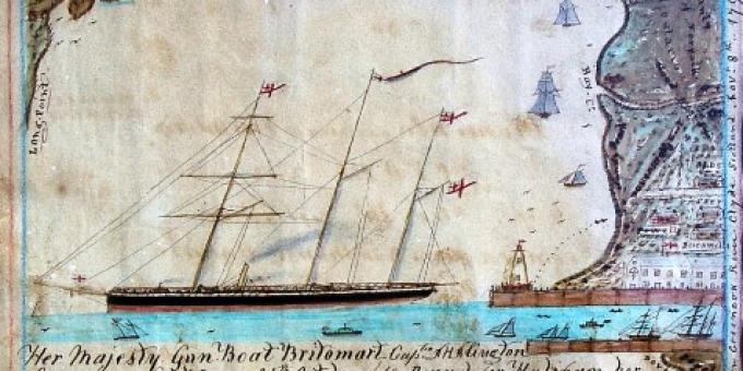 HMS BRITOMART AT PORT DOVER - 1868