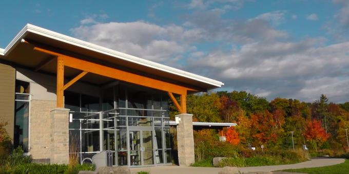 The Centre for Conservation (Gold LEED) Building, at Ball's Falls Conservation Area in Jordan, Ontario