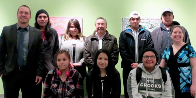Chief Stan Beardy with Dennis Franklin Cromarty art students during the opening of their exhibition