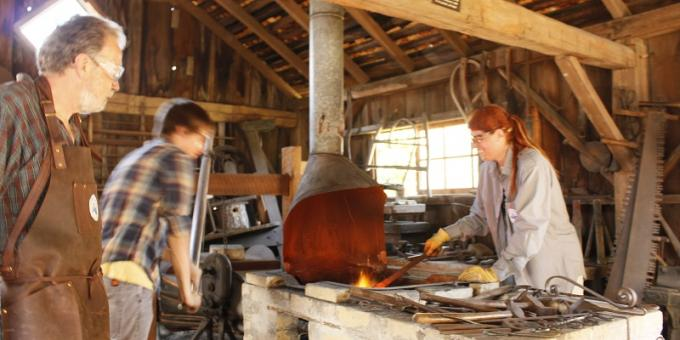 At work in the blacksmith shop