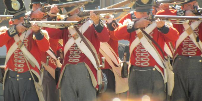 the Upper Thames Military Re-enactment Society portraying the First Regiment of Foot (Royal Scots) Light Company