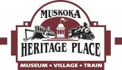 Muskoka Heritage Place logo; Museum, Village, Train