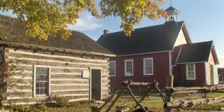 log cabin and schoolhouse at Moore Museum
