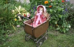 Doll in buggy in the heritage garden