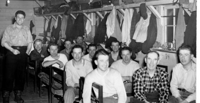 Lumberjacks in their bunkhouse.
