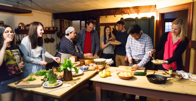 Engaged in creating culinary masterpieces in Dundurn's historic kitchen