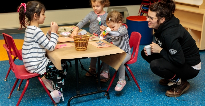 children making a craft