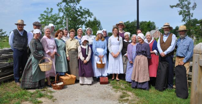 village volunteers in costume