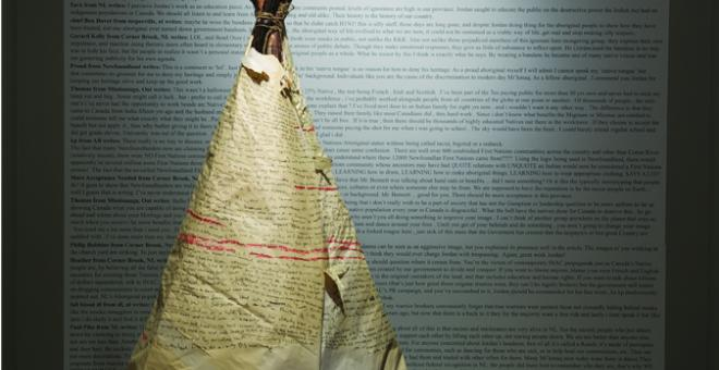 Jordan Bennett, Sovereignty Performance (detail), 2009, recycled paper, burnt trees, regalia, courtesy of the artist.