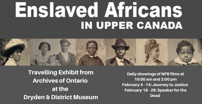 Poster for the travelling exhibit Enslaved Africans in Upper Canada