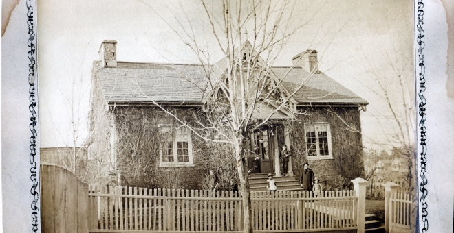 Black and White photo of Hutchison House in 1870