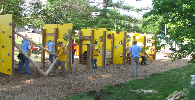 Cheese themed playground nearing completion thanks to hordes of volunteers
