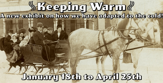 Old photo of family in horse and carriage during winter with text Keeping Warm