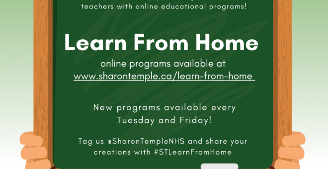 Sharon Temple's Learn From Home curriculum based programs, available every Tuesday and Friday