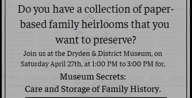 Poster for the event Museum Secrets: Care and Storage of Family History