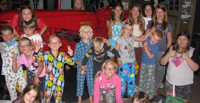 Children in pajamas at Night at the Museum
