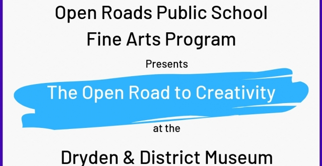 Poster for the Open Roads Public School FIne Arts Program exhibit