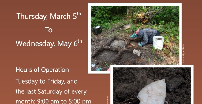 "Poster for the exhibit ""Working Together and Returning History: Archaeological Digs in Treaty 3"""