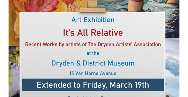 """Poster for The Dryden Artists' Association Exhibit """"It's All Relative"""""""