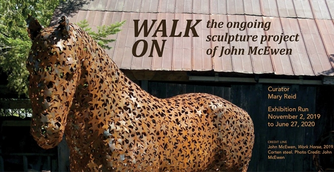 A life-size sculpture of a Clydesdale horse with the text Walk On: the ongoing sculpture project of John McEwen