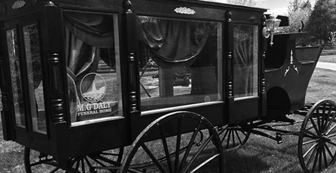 Old-fashioned horse-drawn hearse