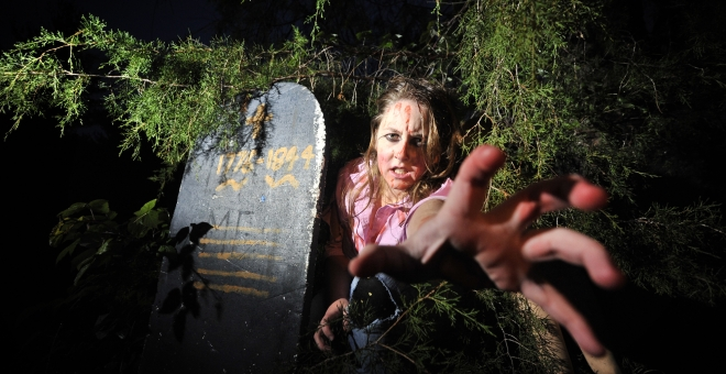 Museum volunteer as a zombie on our haunted walk