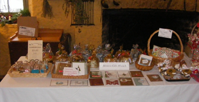 Goodies set up for sale at the annual Christmas Market