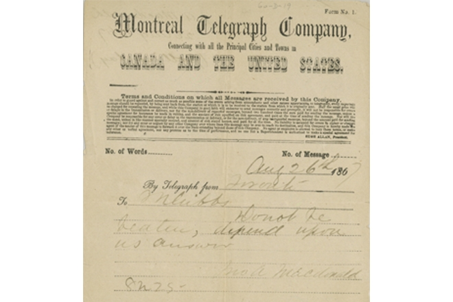 A Telegram From A Father of Confederation