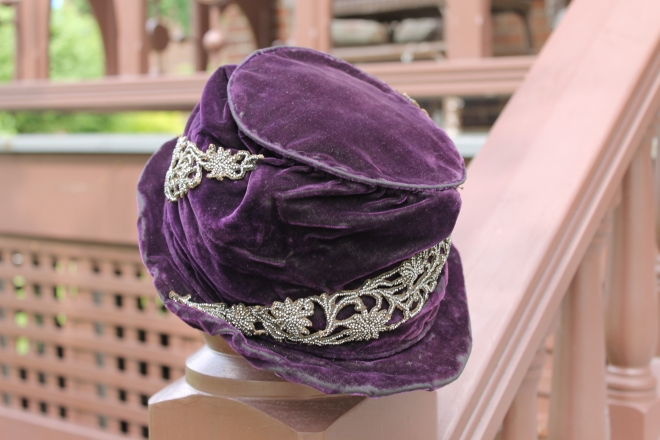 Purple velvet hat with silver embellishments